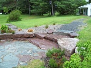 Chocolate limestone steps and flagstone