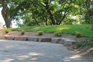 Mocha Limestone as a driveway border